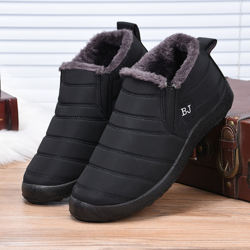 Waterproof Shoes Snow-Boots Anti-Skid Black Winter Men Bottom Plush 695 Fur Warm