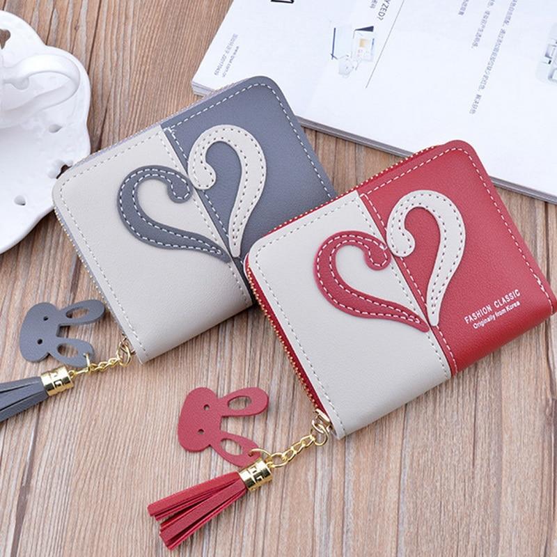 LOOZYKIT New Tassel Leather Wallet Women Small Coin Purse Card Holder Mini Wallets Female Short Coin Zipper Purse Cartera Mujer