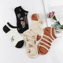 Chaussettes courtes Harajuku en coton pour femmes, 5 pièces, mignonnes, motif de dessin animé, oiseau, renard, flamand rose, été