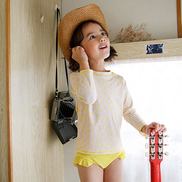 Japanese Korean New Style KID'S Swimwear Girls Fashion Cute Hipster Sun-resistant Children Eight Points Sleeve Two-Piece Swimwea