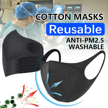 10 Pcs Cotton Cloth Face Mask Breathable Stretchable Protection Dustproof Washable And Reusable Black Durable FPP2 Adult PM 2.5
