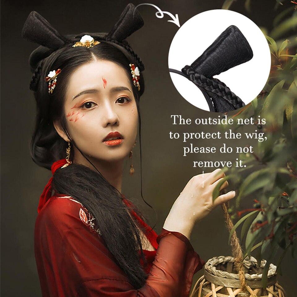 sintetica hanfu cosplay cabelo falso preto pao 05