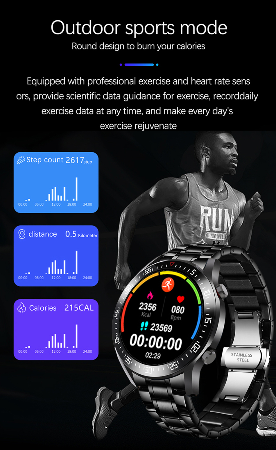 Montre Lige IP68 Waterproof Sports Fitness Fréquence cardiaque