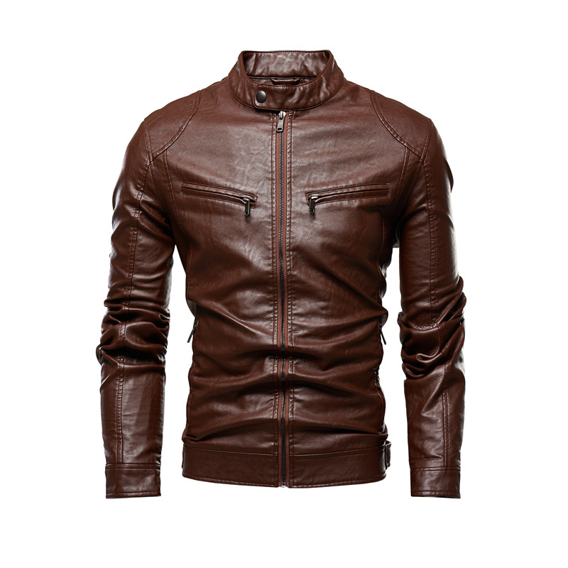Autumn Jacket Men New Slim Retro Winter Jackets Male PU Leather Stand Collar Sportswear Suits Mens Bomber Coat Chaqueta Hombre 3