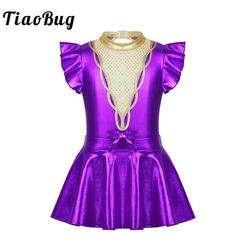 Kids Shiny Sequins Metallic Gymnastics Leotard With Skirt Set Girls Ballet Dress Outfit Showman Stage Performance Dance Costume
