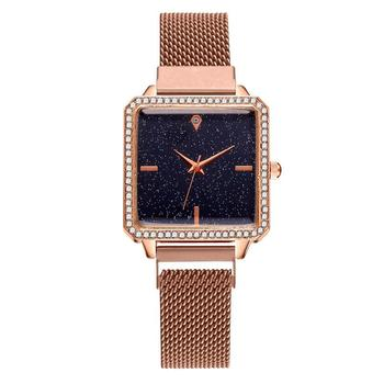 Women Magnet Buckle Gradient Color Simple Starry Sky Watch Luxury Ladies Square Case Shape Quartz Watches Relogio Feminino watches women luxury brand lady wrist watches square fashion woman quartz ladies magnet strap free buckle watch relogio feminino