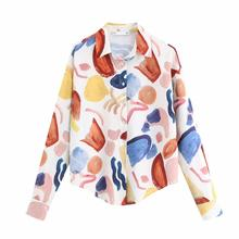 Graffiti Chiffon Blouse Women Autumn Fashion Casual Long Sleeve Loose Blouses For Lady