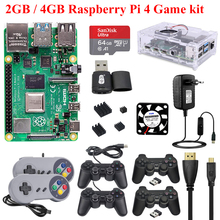 Originele Raspberry Pi 4 Game Kit 2Gb/4Gb + Case + Voeding + Usb Gamepad + sd-kaart + Koellichaam Raspberry Pi 4 Model B 4B