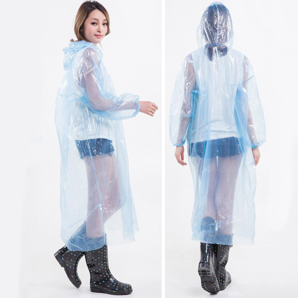 10-pack Disposable Protective Clothing  Adult Unisex Disposable Transparent Hood Drawstring Raincoat Protection Suit