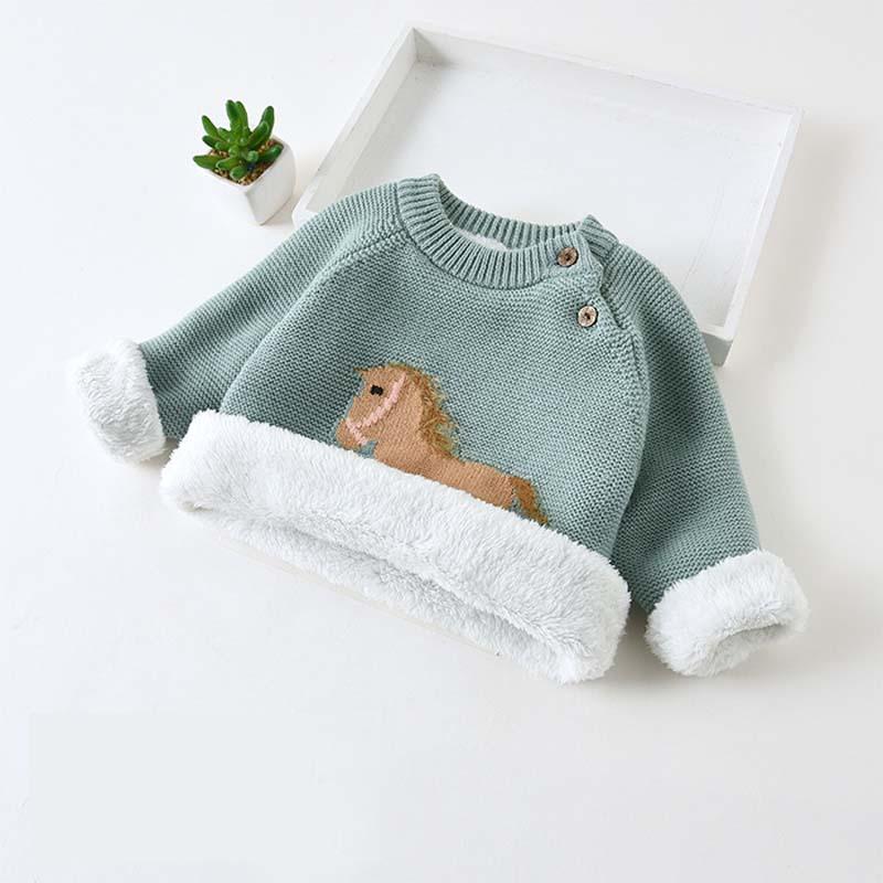 DIIMUU Winter Plush Velvet Sweaters Baby Girls Clothes Toddler Warm Sweater Coats Child Boy Girl Cartoon Thicken Wool Tops