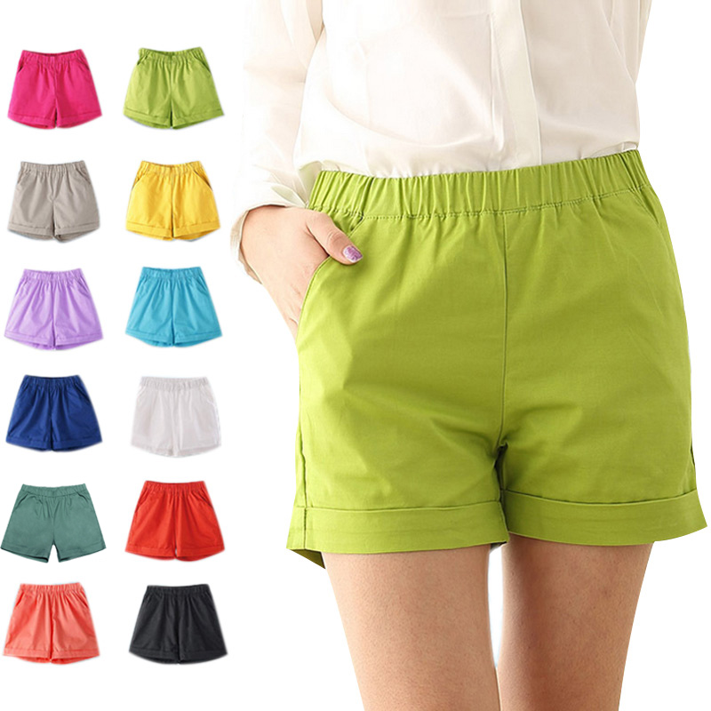 Summer Women Cotton Shorts Casual Elastic Waist Candy Solid Color Short Pants FEA889