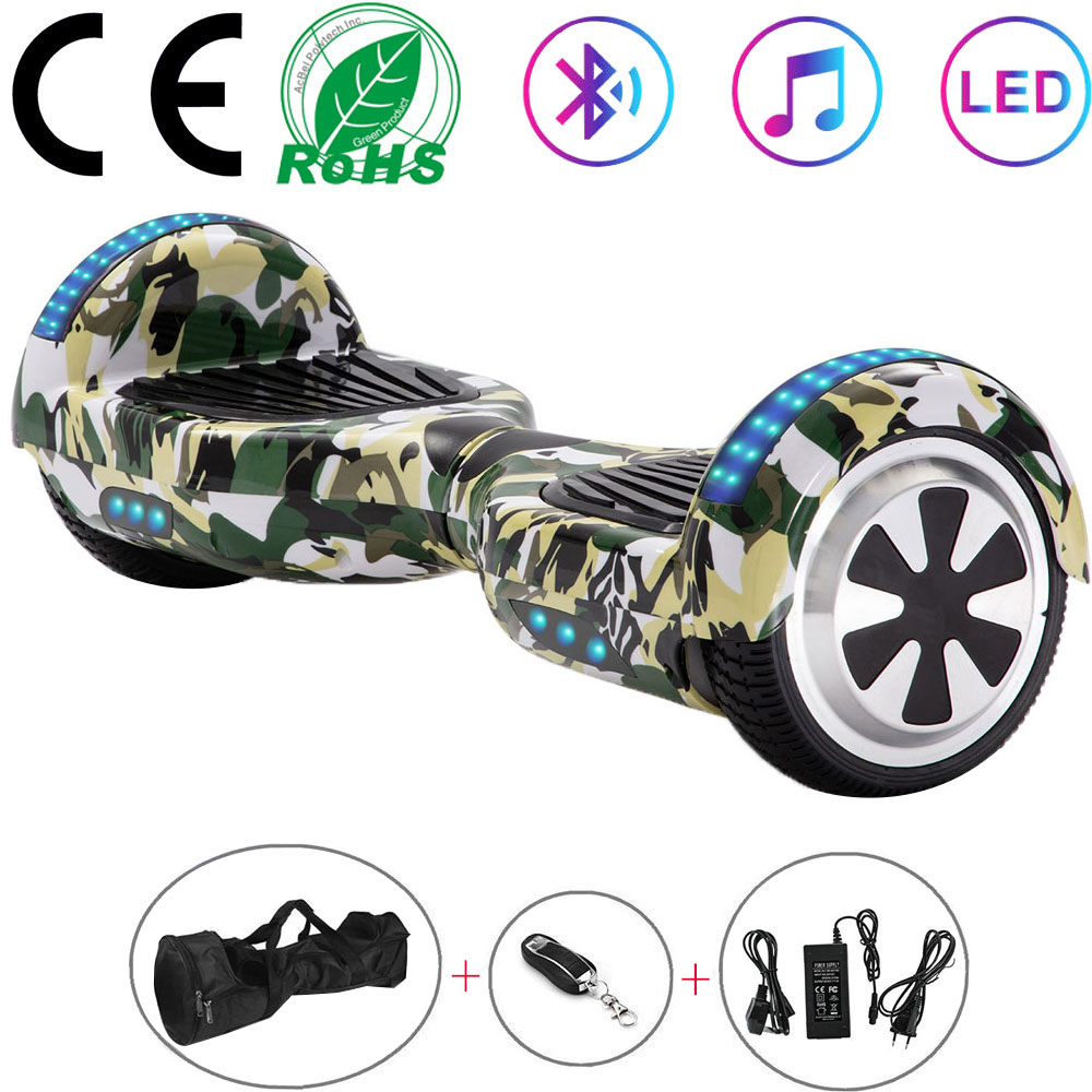 Self-Balancing Scooter 6.5 Inch Green Camouflage 2 Wheels Electric Hoverboard Balance Board For Kids Gifts LED Bluetooth+Key+Bag