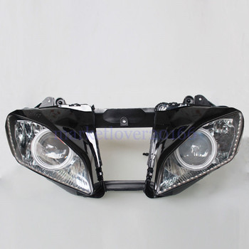 Custom White Angel Red Demon Eyes Motorcycle HID Projector Conversion Headlight Assembly Headlamp For Yamaha YZF-R6 2006 2007 image
