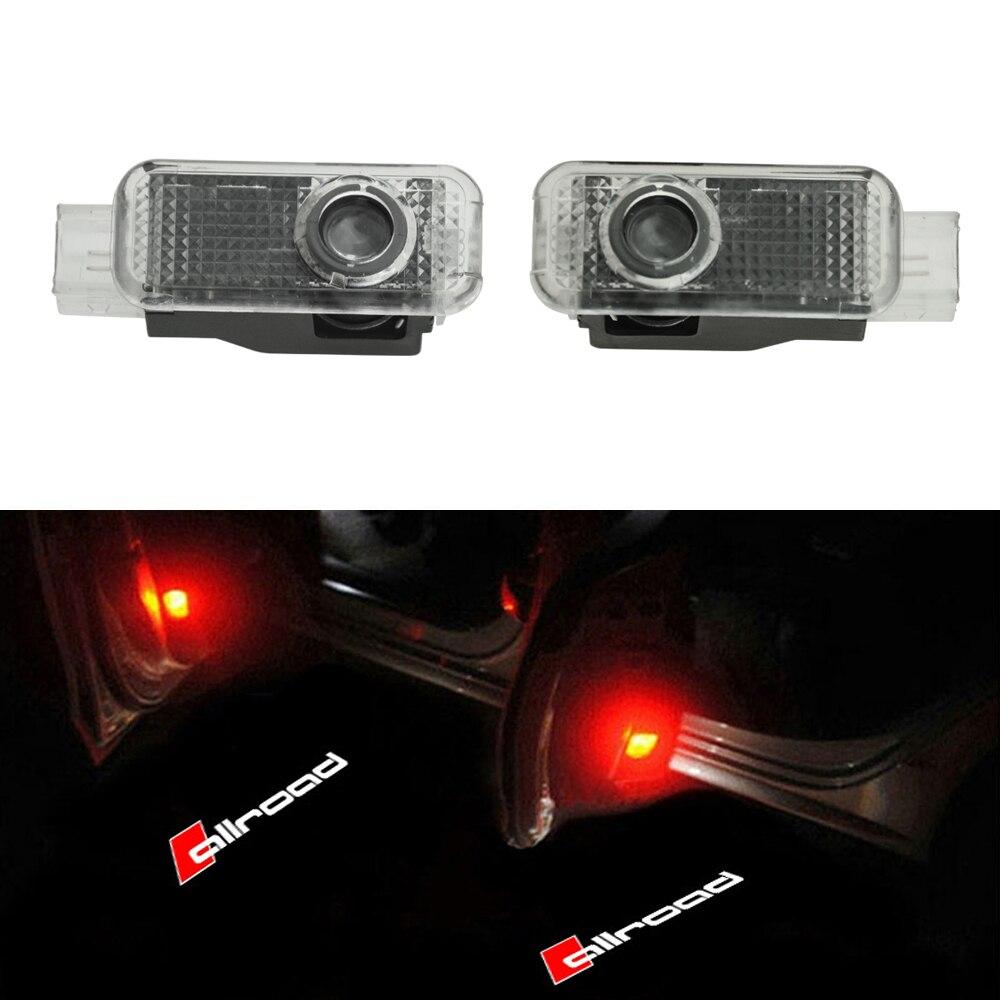 2x Dell'automobile del LED Logo Porta Proiettore di luce di Cortesia Dell'ombra Del Fantasma Della Luce di Benvenuto Per Audi Allroad A4 B6 A5 C5 A6 c6 A7 A8 A1 A3 Q3 Q5 Q7