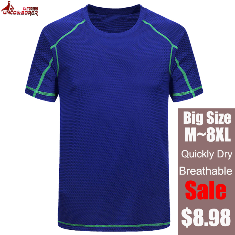 Top for Men Plus Size Crew Neck Short Sleeve Solid Summer Outdoor T-Shirt Sport Fast-Dry Breathable Blouse L-8XL