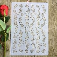 Лоза цветы А4 29*21см DIY трафареты стены скрап картины раскраски выбивая альбом декоративные шаблон бумаги карты