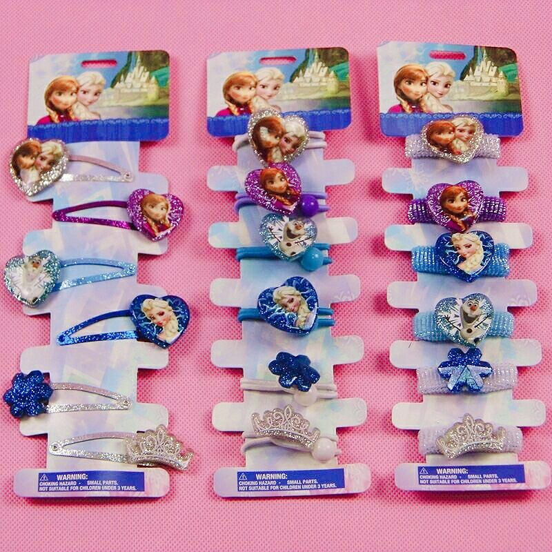 6pcs/lot Disney Frozen Cartoon Princess Children Doll Hair Clip  Head Ring Circle Headwear Girl Birthday Party Gift Accessories