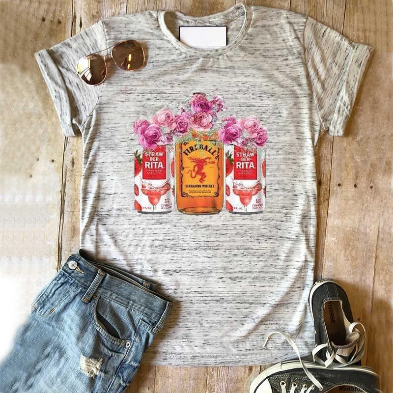 שתיית חולצה ויסקי טי חולצת טי הדפס פרחוני למעלה בנות באר tees עסיסי חולצות 90s נשים בציר