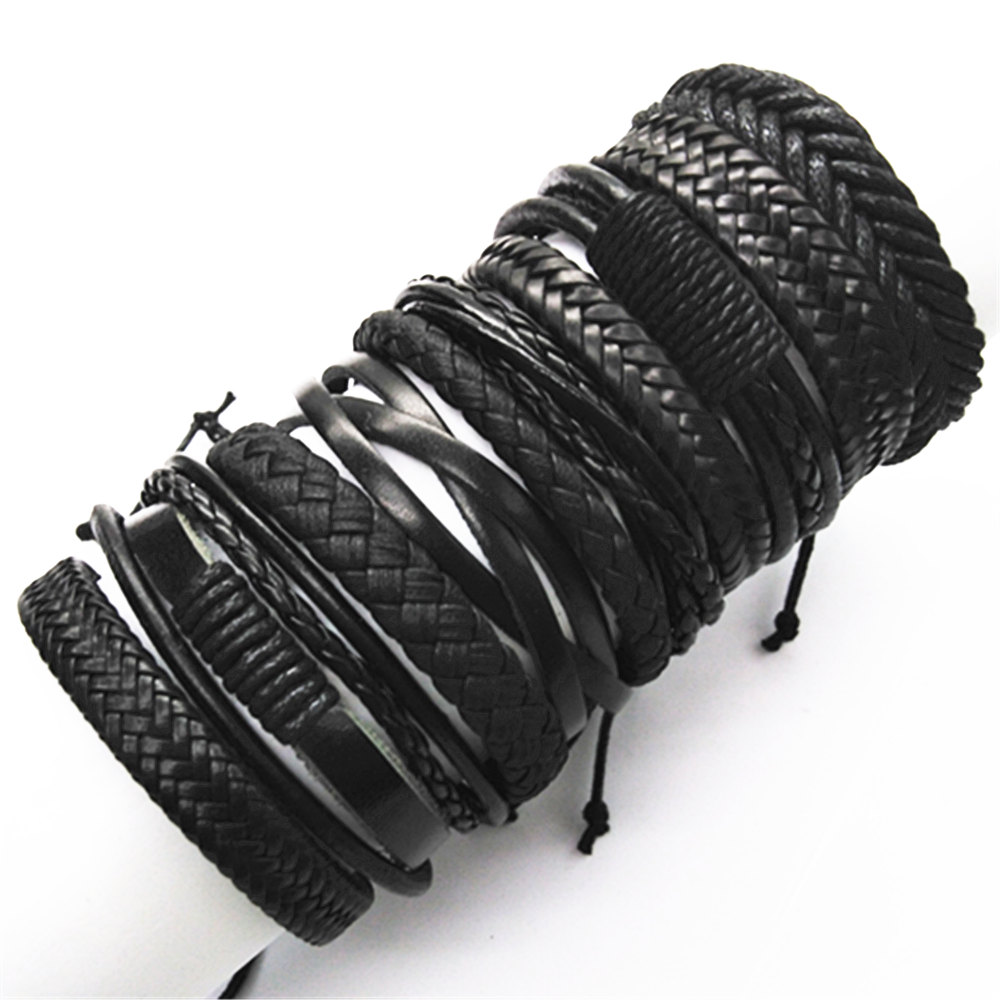10pcs/set Black Wrap Woven New Fashion Handmade Men Bracelets Male Women Leather Bracelet Men Bangle Wholesale Jewelry Gift
