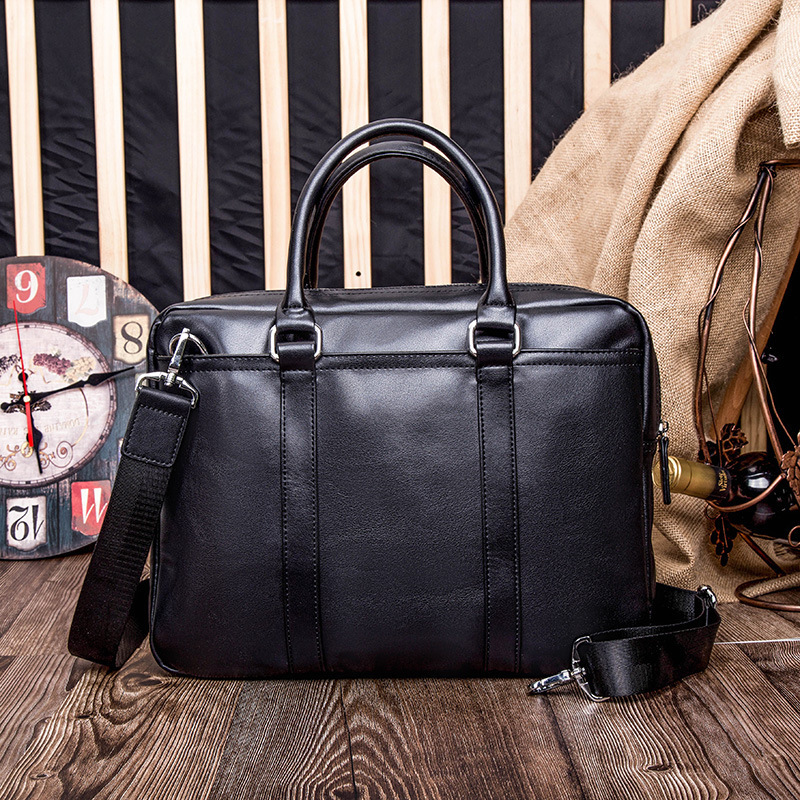 The New Business with The Bag In Leather Fashion Youth One Shoulder Inclined Shoulder Bag Han Edition Men Briefcase Office Bag