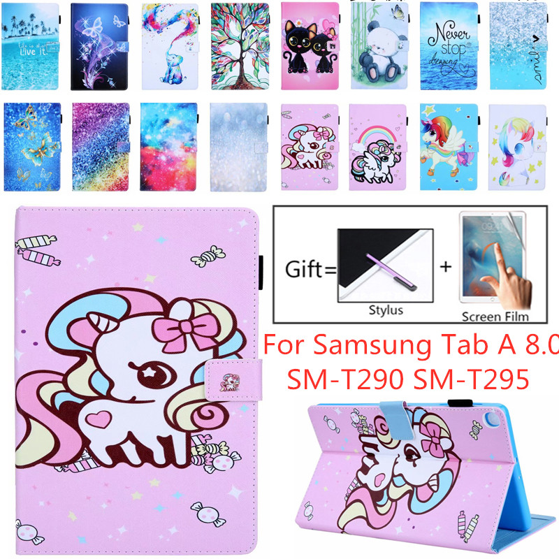 Unicorn Cute Leather Case For Samsung Tab A 8.0 SM-T290 SM-T295 Tablet Cover For Galaxy Tab A 8.0 2019 Case Fundas
