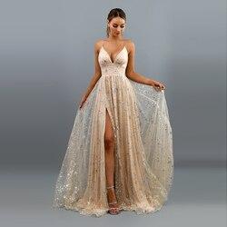 Платье с блестками, вечернее платье с глубоким треугольным вырезом, платье из тюля А-силуэта