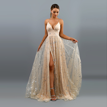 Star Sequins Evening Dress Deep V Neck Sexy Vestido De Fiesta De Noche High Split Fork  Strapless Dress A-line Tulle Dress