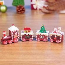 Рождественский деревянный поезд, 4 предмета, деревянный Рождественский поезд, украшение, подарок, грузовик, хобби, забавный детский подарок, Прямая@ 5