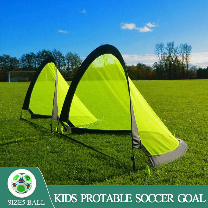 WISHOME Kids Pop Up Soccer Goal Set with Size4 Football Portable Foldable Soccer Goal Net for Backyard Futbol Gate Family Toy