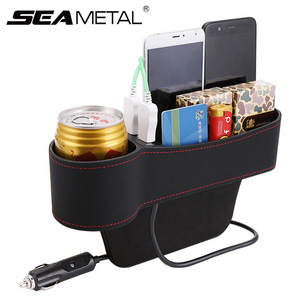 Car Accessories Seat Organizer Storage Box PU Leather Auto Seat Gap Crevice Side Slit Car Seat Organizer Key Phone Cups Holder(China)