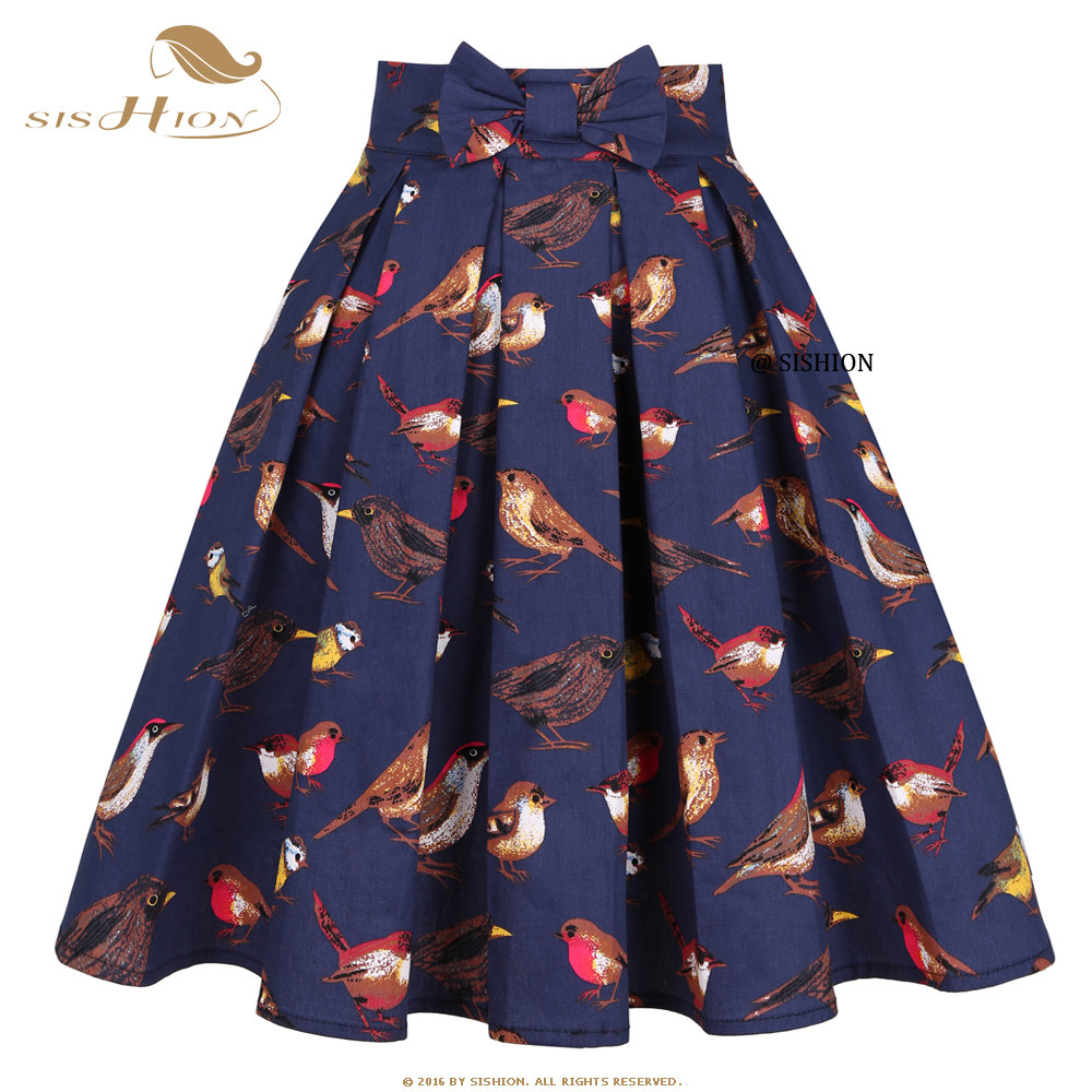 SISHION Navy Blue Birds Printed Women Summer Skirt Plus Size SS0012 Korean Y2K ropa mujer Cotton 50s Vintage Pleated Midi Skirt