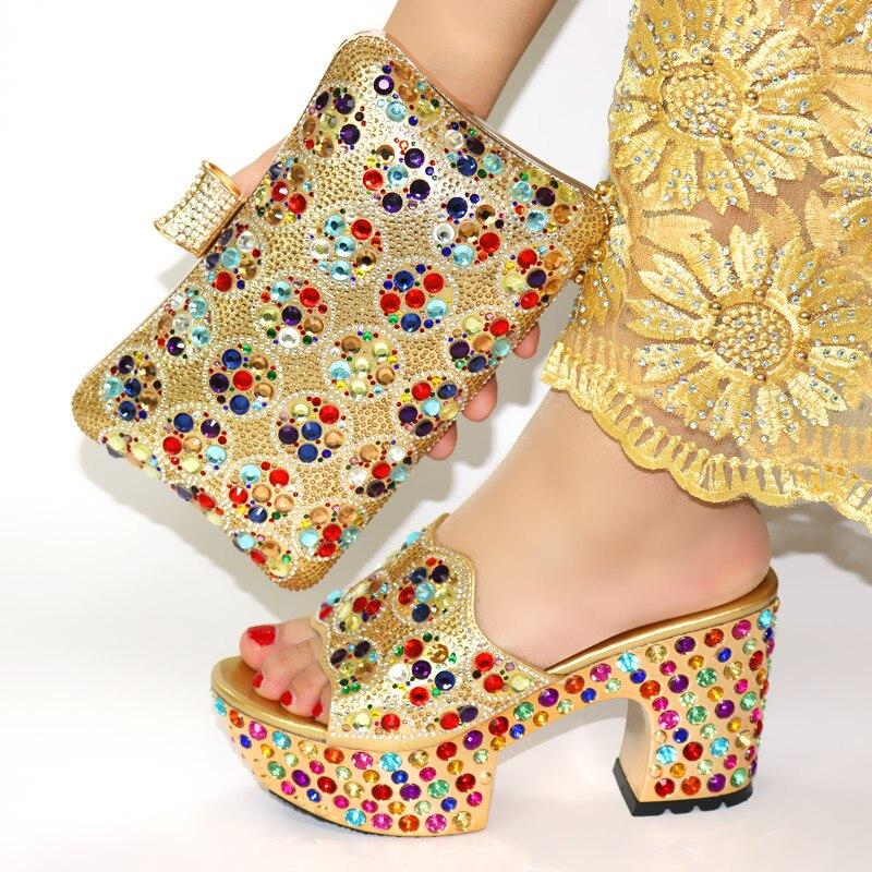 Femmes africaines chaussures et sac ensemble italien plus récent 2019 Design italien chaussures et sac pour correspondre à la couleur or de mariage