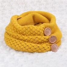 Inverno quente malha infinito cachecol marca de luxo feminino cor sólida crochê padrão básico grosso botão grande malha snood anel cachecol