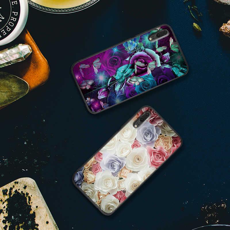 Luksusowe etui na Huawei Y6 Y7 2018 Y9 Prime Mate 10 20 Pro Nova2 3 4 Lite Nova 2i 3i 5i pokrywa motyl na białe róże kwiat