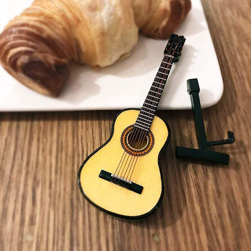 Hot Sale Wooden Mini Ornaments Guitar Musical Instrument Miniature Dollhouse Model Home Decoration With Holder( 5.1 Inch/13 CM)