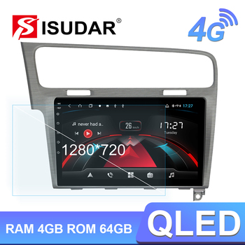 Isudar H53 4G Android 1 Din Auto Radio For VW/Volkswagen/Golf 7 Car Multimedia 8 Core RAM 4GB ROM 64GB GPS DVR 1080P Camera IPS