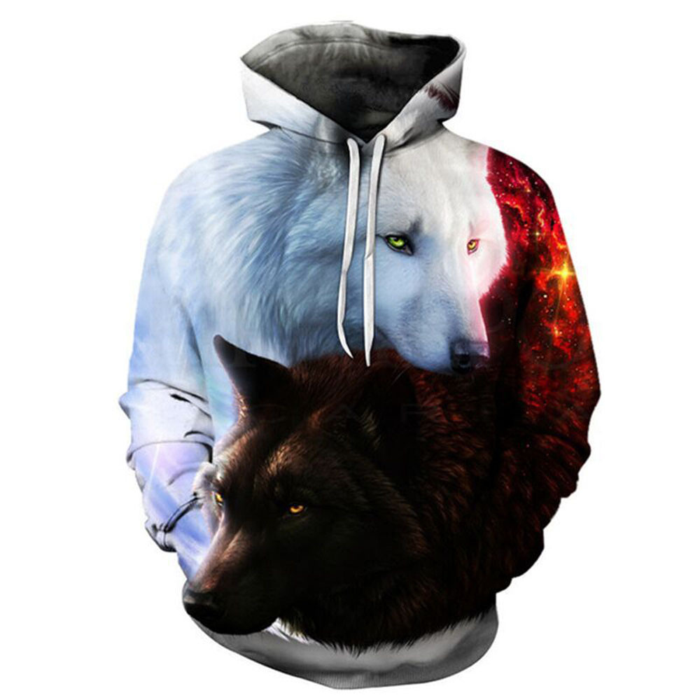 Fashion Girls Sweatshirts,Breathable Black And White Wolves Cotton Hooded Pullover For Child