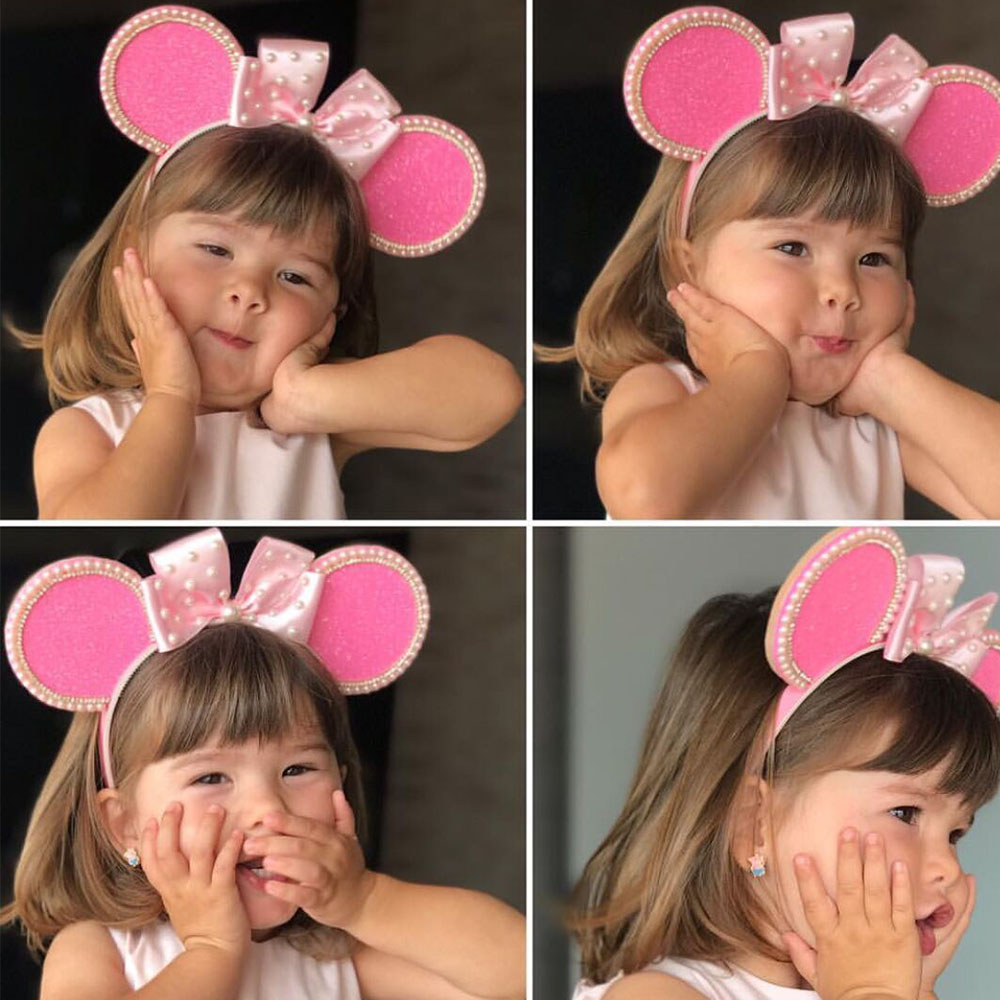 Hair Accessories Pink Mouse Ears Headband for Girls Velvet Hairband with Pearl Bows Children Kids Handmade Head Hoop in Hair Accessories from Mother Kids