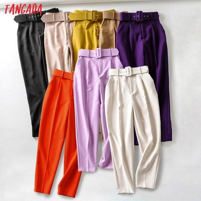 Tangada black suit pants woman high waist pants sashes pockets office ladies pants fashion middle aged pink yellow pants 6A22 2