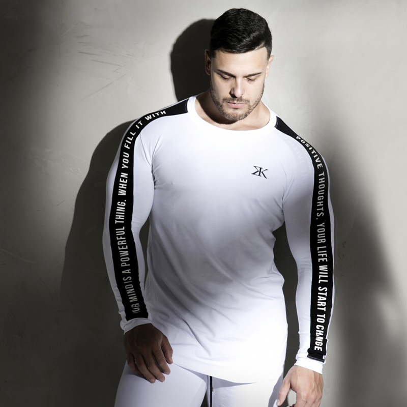 New T-shirt Long Sleeve Autumn Gyms Brand Clothing Cotton Joggres Bodybuilding Exercise Shirt 2XL