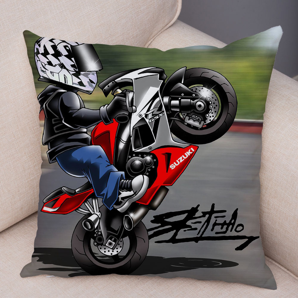 Extreme Sports Cushion Cover Decor Cartoon Motorcycle Pillowcase Soft Plush Colorful Mobile Bike Pillow Case for Sofa Home Car 28