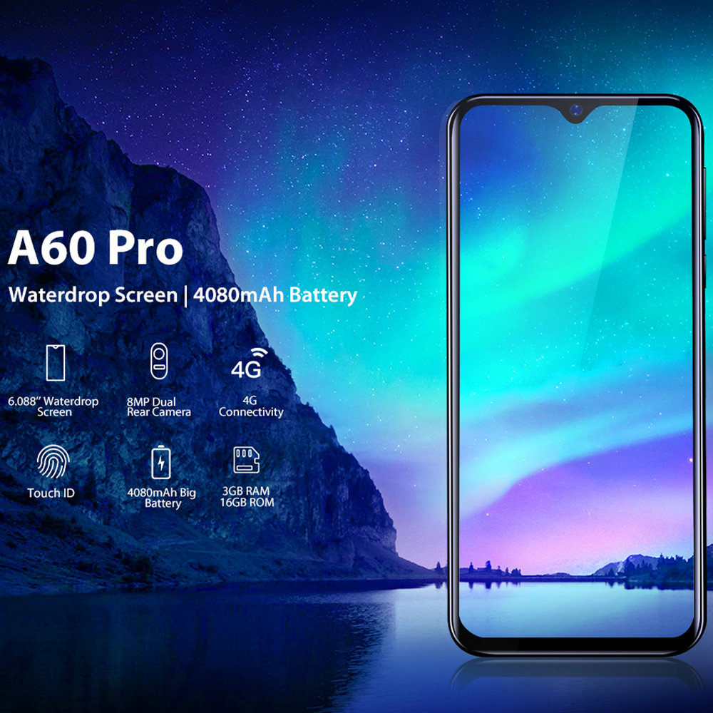 Image 2 - Blackview A60 Pro Original Smartphone 3GB+16GB MT6761V Cellphone Android 9.0 Waterdrop Screen 4080mAh Touch ID 4G Mobile Phone-in Cellphones from Cellphones & Telecommunications