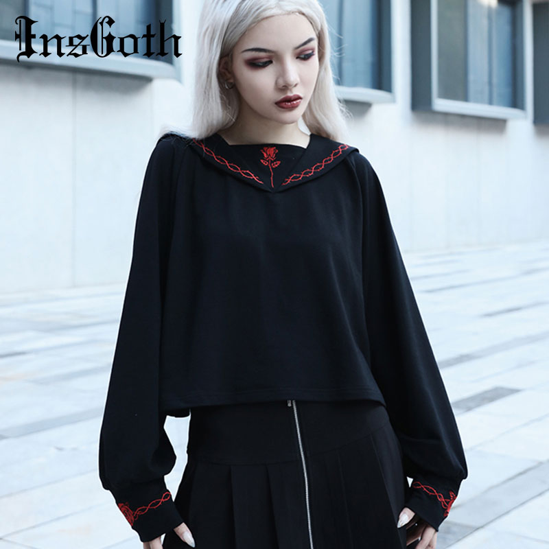 InsGoth Harajuku Loose Women Hoodie Gothic Black Hooded Sweatshirt Korean Casual Collage Wind Embroidery Lady Pullover Hoody