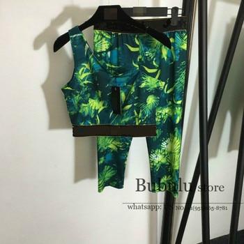 luxury designer Summer High End two prece set women jungles Print one Shoulder bodycon top and Leggings pants Sports Suit S-L
