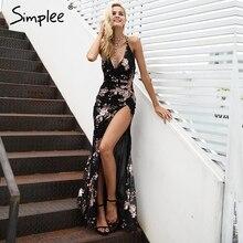Simplee seksi lace up halter pullu parti elbiseler kadın yüksek bölünmüş maxi elbise dresses kadın noel akşam uzun elbise vestidos