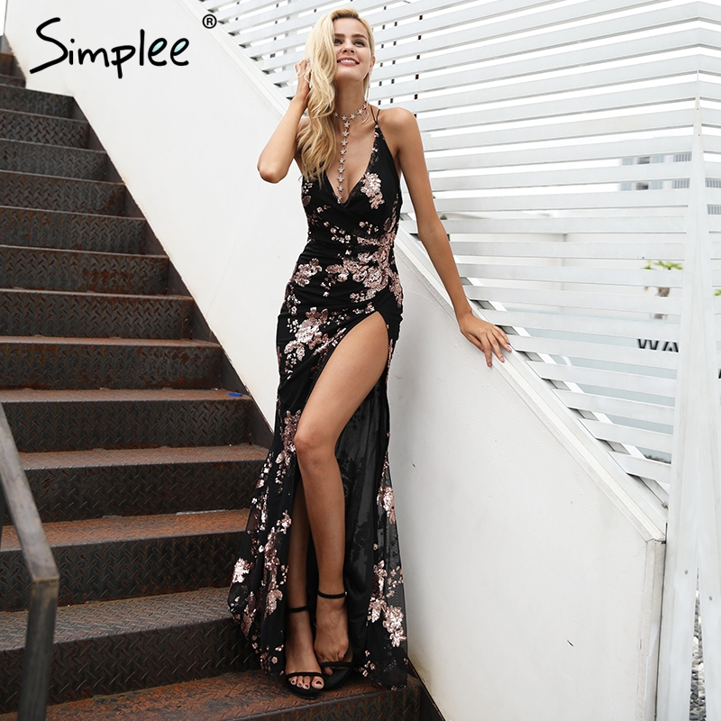 Rendas até Halter Vestidos de Festa para Mulheres Simplee Sexy Lantejoulas Alta Divisão Maxi Vestido Festa Feminino Natal Noite Longo Vestidos