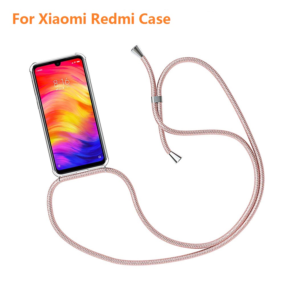 Strap Cord Chain Phone Case for Xiaomi Redmi Note 9S 9 Pro Max 8T 8 7 6 5 10 Pro Necklace Lanyard Coque For Red MI 8 9 9T Pro(China)
