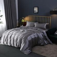 100% conjuntos de cama cetim seda luxo capa edredão conjunto cor sólida folha cama conjunto único duplo rainha rei tamanho sedoso colcha conjunto