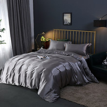 Faux Silk Bedding Sets Luxury Duvet Cover Set Solid Color Bed Sheet Set Single Double Queen King Size Silky Quilt Cover Set