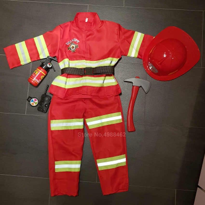 Rode Brandweerman Sam Brandweerman Cosplay Kostuum voor Kinderen Jongens Meisjes Halloween Kerst Verjaardagscadeau Fire Dept Uniform Kleding